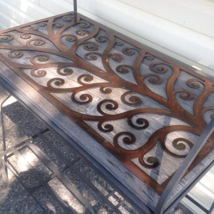 Table insert copper patina