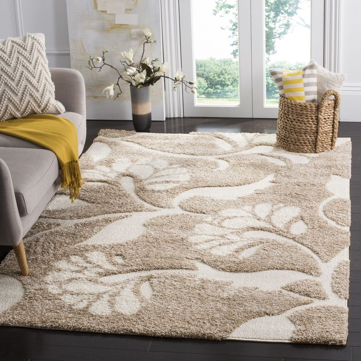 Safavieh Florida Shag Beige/ Cream Floral Area Rug (8u00276 X 12u0027 Part 65