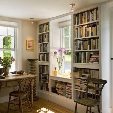 Frame a window with bookshelves. Lots of shelves + instant window seat! Antique Cape, Norwich VT