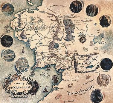 """O termo """"Terra Média"""" (""""Middle-earth"""" eminglês) não foi inventado porTolkien. Ele já existia noanglo-saxãocomomiddanġearde noInglês Médiocomomidden-erdoumiddel-erde emNorueguês antigocomoMidgard. É em inglês aquilo que osGregoschamaram o οικουμένη (oikoumenē) ou """"o local permanente dos homens"""", o mundo físico como oposto dos mundos invisíveis (As Cartas de J. R. R. Tolkien, 151). A palavraMediterrâneoprovém de duas raízeslatinas,medi, meio, eterra."""