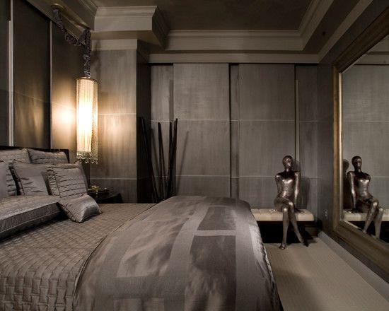 Deluxe Condominium Interior in Glamorous Style : Sleek Modern Bedroom With Upholstered Bench Bexley Gateway Condominium