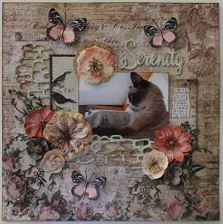"""ShelbyDoodle Designs: Serenity Layout by Nancy Smith. This gorgeous cat layout was created with the Scraps of Darkness Feb 2016 """"Heirloom"""" scrapbook kit."""