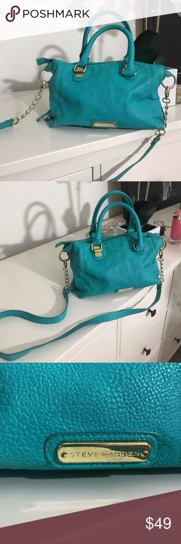 "Steve Madden Turquoise bag Approx 13""x9.5"". Turquoise. Normal wear and tear. 3 pockets inside. Crossbody removable strap. Handbag shoulder bag. 1007 Steve Madden Bags Crossbody Bags"