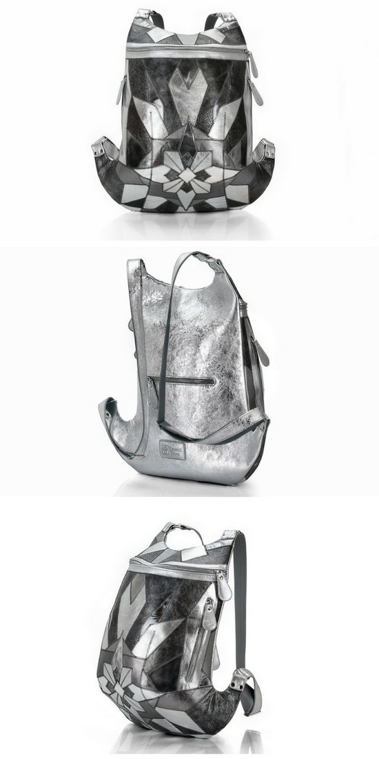 Leather backpack pattern | Metallic Silver Leather Backpack | Large rucksack | Leather backpack purse designer | Limited edition #backpack #silver #handcrafted #teampinterest #silverbackpack #leather