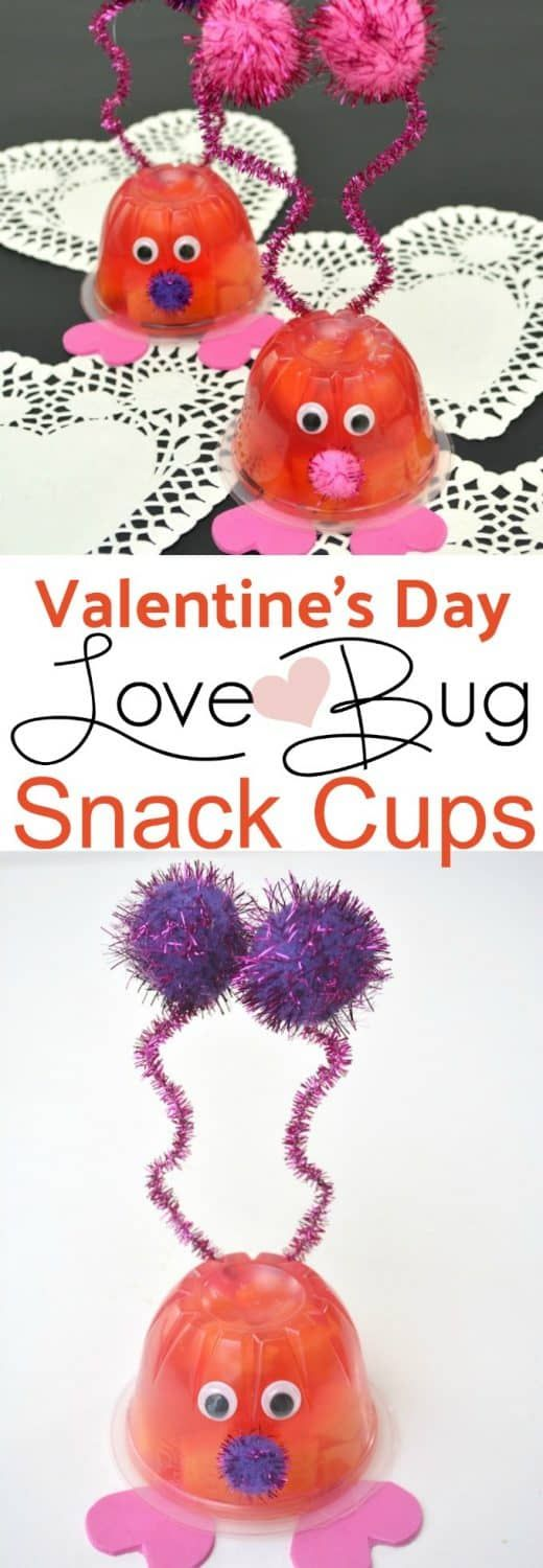 Valentine's Day Love Bug Snack Cups - These healthy Valentine's treats are perfect for a classroom party or as a giveaway. Great Valentine's Day project to do with your kids!  #valentinesday #valentinesdaygift #valentinesdaycrafts #valentinesdayideas #lovebugs #dole #dolefruitcup #healthyvalentine