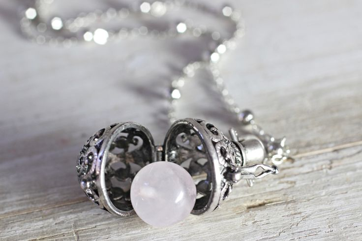 Wish Box Necklace, Attract Love Rose Quartz Necklace, Antique Silver Orb Necklace, Ball Locket, Bali Jewelry, Angel Caller, Harmony Ball by CaptureMyArt on Etsy https://www.etsy.com/listing/191501239/wish-box-necklace-attract-love-rose