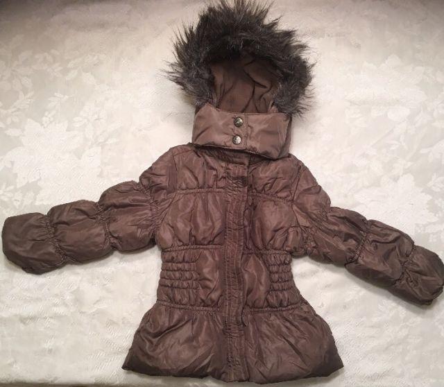 Girls Size 2T 3T ZARA Coat Winter Puffer Jacket Faux Fur Hood Brown 98cm   eBay