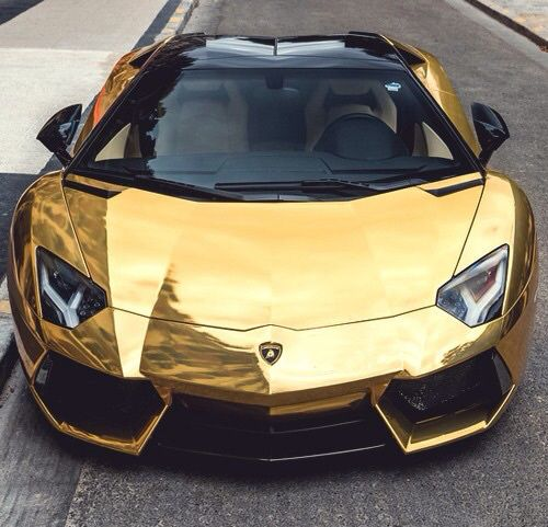Lamborghini Aventador with gold chrome wrap