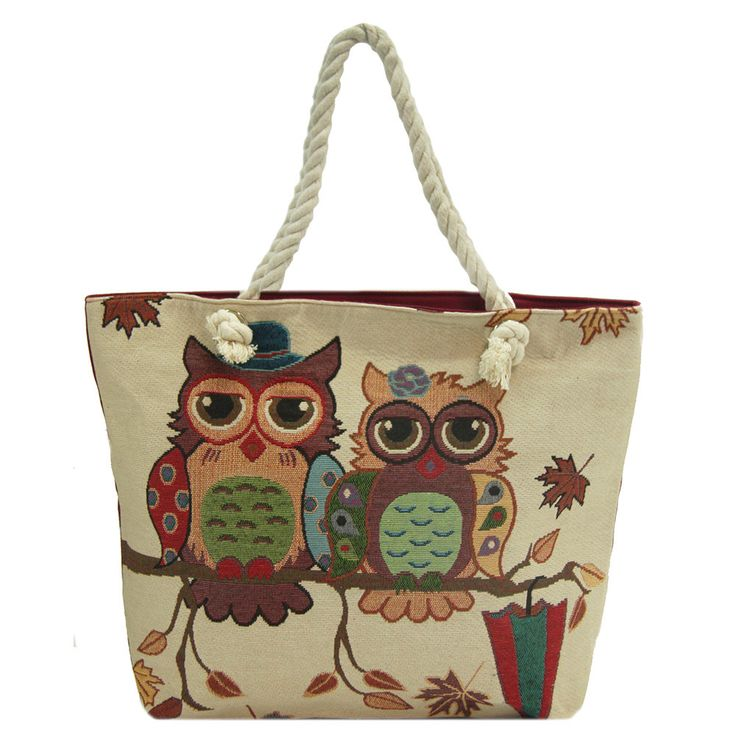 Alfa Traditional Tapestry Owl Tote Bag