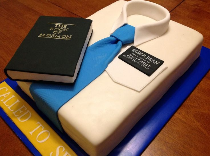 Missionary White Shirt Cake - This is the cake I made for a mission farewell open house. Everything on the cake is edible including the missionary tag, The Book of Mormon, and the Called to Serve. It was a chocolate cake filled with cookies and cream filling and covered in chocolate ganache and then fondant.