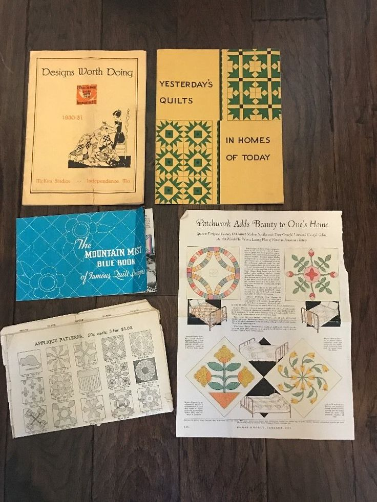 "Information clipped from Women's World, 1931, ""Patchwork Adds Beauty to One's Home"". The Mountain Mist Blue Book of Famous Quilt Designs, 1935 (some storage wear, but no other issues). 
