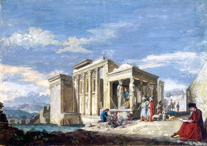 James 'Athenian' Stuart 1755-60, View of the Caryatid porche and the Erectheion In 1751 Stuart and his friend Nicholas Revett visited Greece to measure and record antiquities. After his return to London in 1755, Stuart painted views of Greece.n some of the images, Stuart included himself and Nicholas Revett, his friend and traveling partner,in the scenes. This was one of the devices Stuart used in several of his views to call attention to their actual presence in Greece.
