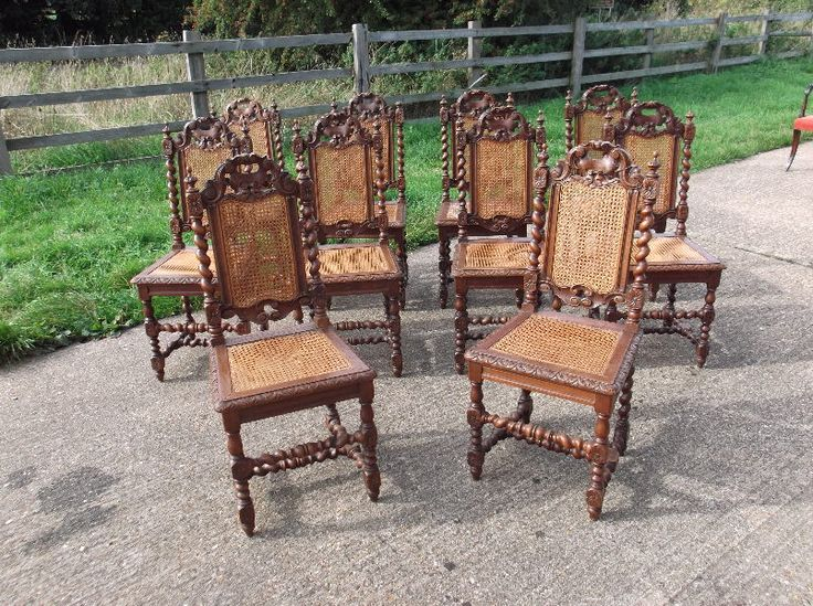 Set 10 Oak And Cane Chairs