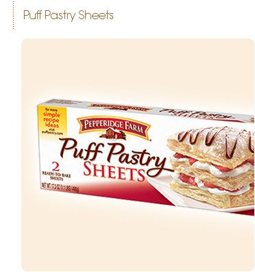 Pepperidge Farm® - Puff Pastry Sheets are vegan!!   UNBLEACHED ENRICHED WHEAT FLOUR [FLOUR, MALTED BARLEY FLOUR, NIACIN, REDUCED IRON, THIAMIN MONONITRATE (VITAMIN B1), RIBOFLAVIN (VITAMIN B2), FOLIC ACID], WATER, PARTIALLY HYDROGENATED VEGETABLE SHORTENING (SOYBEAN AND COTTONSEED OILS COLORED WITH BETA CAROTENE) CONTAINS 2 PERCENT OR LESS OF: SALT, HIGH FRUCTOSE CORN SYRUP, WHEAT GLUTEN, DISTILLED MONOGLYCERIDES (FROM HYDROGENATED SOYBEAN OIL) AND SOY LECITHIN