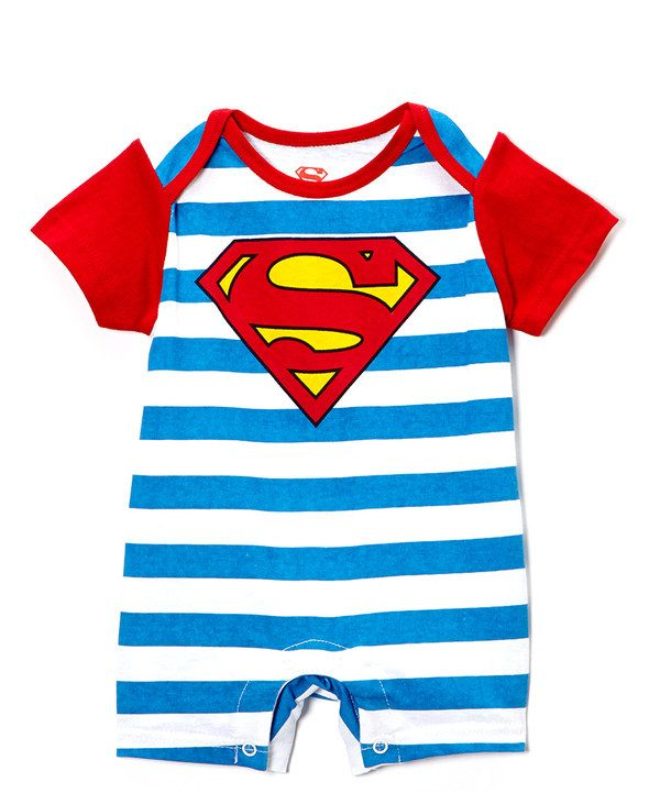 Another great find on #zulily! Blue & White Stripe Superman Romper - Infant by Bentex #zulilyfinds