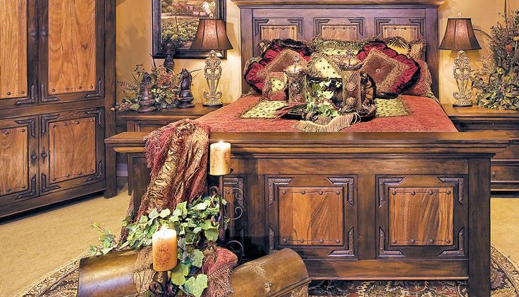 Mesquite wood Old-World style bedroom furnishings, night tables, armoire & accessories