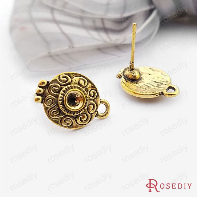 (18356)20PCS 15*10.5MM Antique Silver Alloy and Steel Needle Stud Earrings Diy Handmade Jewelry Findings Accessories Wholesale