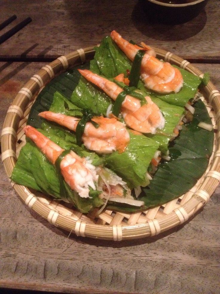 Mustard leaves wraped pork and shrimp, Hanoi Vietnam
