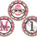 Cupcake Toppers - Pink Birthday Sock Monkey Set of 12 Personalized Party Favors. $8.00, via Etsy.