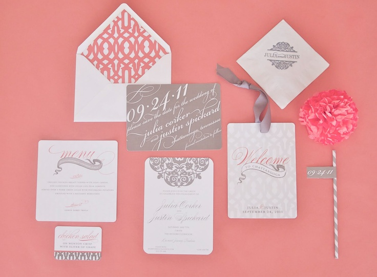 stationary: Colors Combos, Colors Patterns, Grey Wedding, Gray Wedding, Paper Good, Pink Ribbons, Wedding Invitations, Colors Schemes, Invitations Ideas