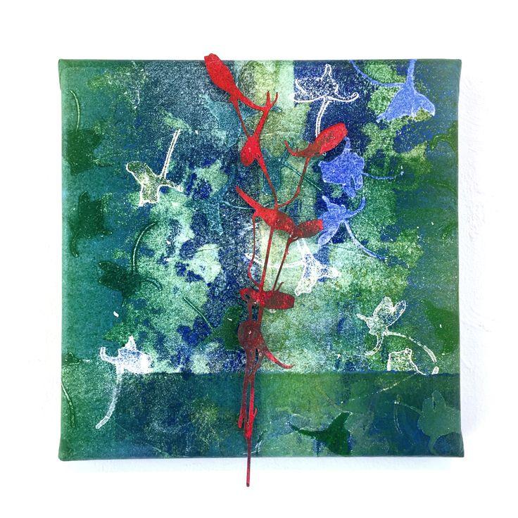 Marian Smit & Maurice Christo van Meijel: Riddersporen (2016) drukinkt op papier op doek, 20 x 20 cm. (particulier collectie) www.galerieposthuys.nl