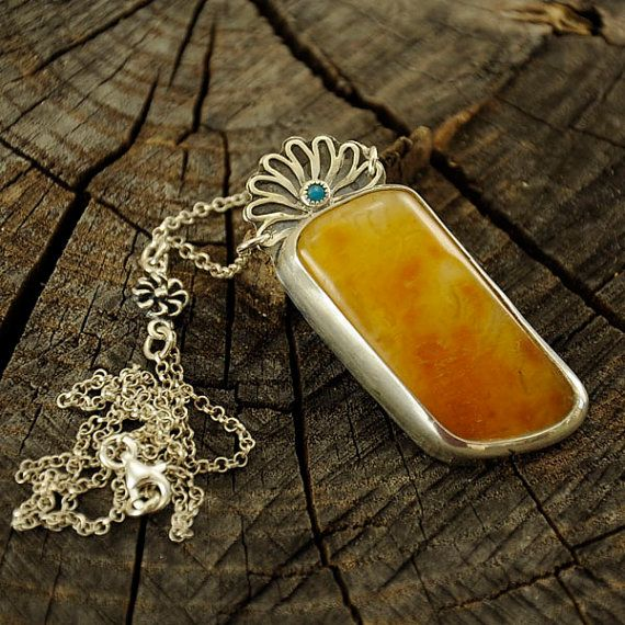 Amber & turquoise necklace  sterling silver artistic by Ankanate