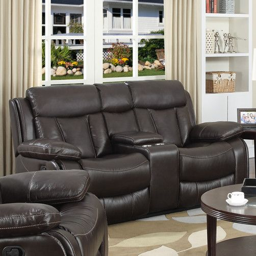 Darmstadt Power Leather Reclining Loveseat