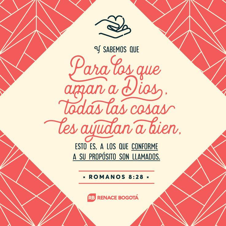 Y sabemos que para los que aman a Dios, todas las cosas cooperan para bien, esto es, para los que son llamados conforme a su propósito. ROMANOS 8:28