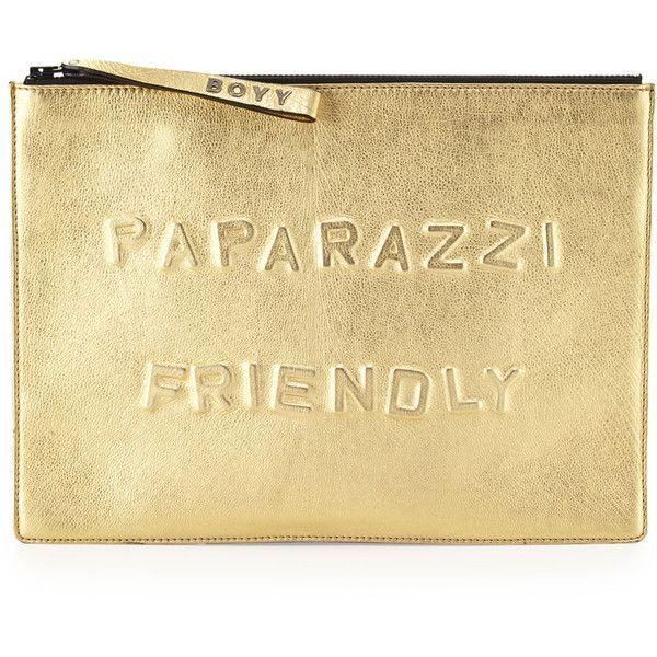 BOYY Paparazzi Friendly Alphabet Metallic Clutch Bag, Gold ($388) ❤ liked on Polyvore featuring bags, handbags, clutches, bolsos, metallic clutches, metallic handbags, oversized handbag, wristlet handbags and beige handbags