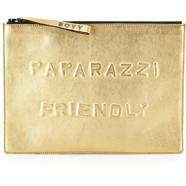 BOYY Paparazzi Friendly Alphabet Metallic Clutch Bag, Gold (1.345 BRL) ❤ liked on Polyvore featuring bags, handbags, clutches, bolsos, gold clutches, gold metallic purse, wristlet clutches, metallic handbags and oversized clutches