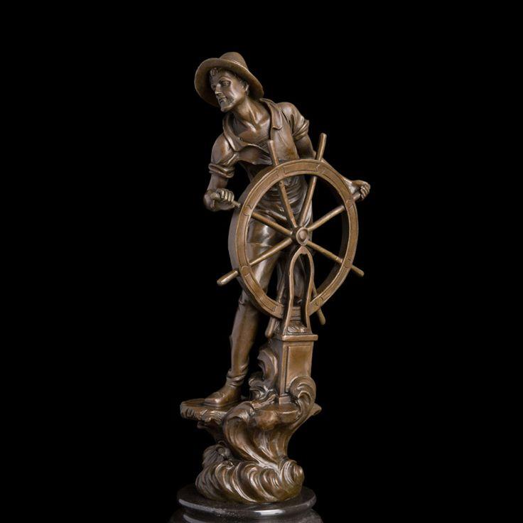 ATLIE BRONZES Classical  helmsman sculpture vintage art bronze statue captain figurine world famous artwork collection  #Affiliate