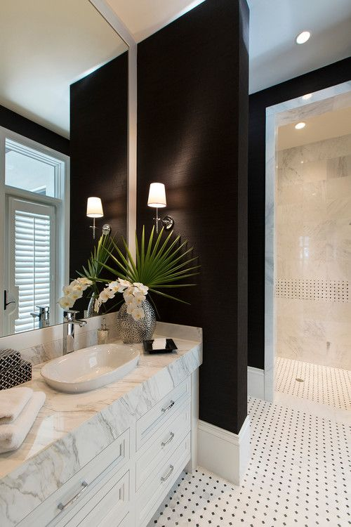 black grasscloth on bathroom walls mixed with marble. Diamond Homes.