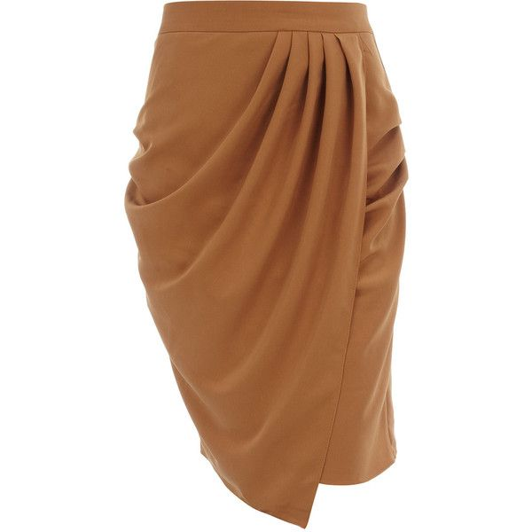 Brown draped skirt ($16) found on Polyvore
