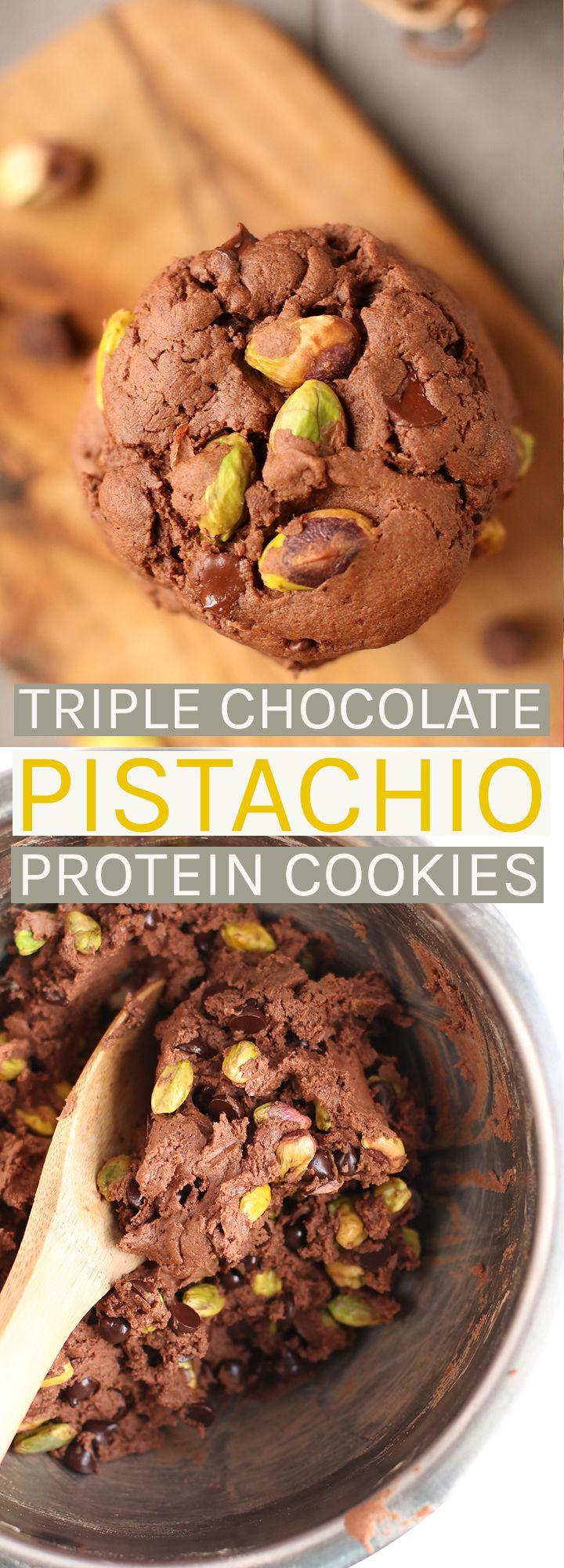 Vegan Triple Chocolate Pistachio Protein Cookies.
