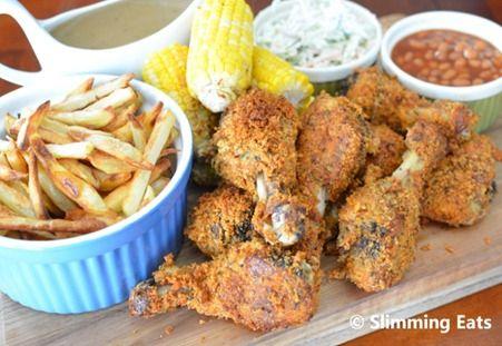 SlimmingEats KFC Style Feast  #KFC #Southernfriedchicken #chicken #feast #platter #partyfood #lowfat #healthyeating