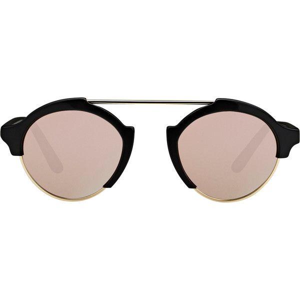Illesteva Milan IV Sunglasses ($300) ❤ liked on Polyvore featuring accessories, eyewear, sunglasses, glasses, multi, round lens glasses, mirror lens sunglasses, black sunglasses, round glasses and black glasses