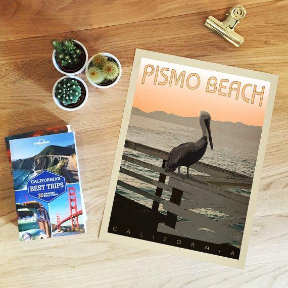 Pismo Beach, California Retro-Style Poster. Typographic, Mid Century Modern…