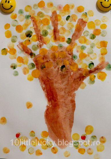 actividades de otoño para los niños arbusto técnica de las ideas de huellas dactilares