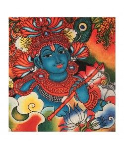 Kerala Canvas Mural of Lord Krishna with Flute - 13 Inches x 12 Inches