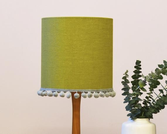 Olive Green Linen Pom Pom Handmade Drum Table Lampshade Bedroom Lamp Bedroom Lamps Lamp Shades Drum Table