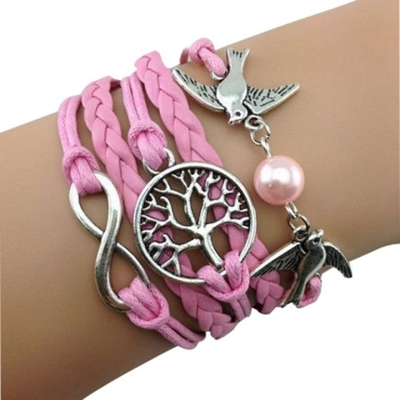 Birds and Tree of Life Arm Party – Pink