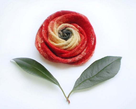 Mothers Day Gift Red Rose Handmade Felted Flower Brooch Statement Jewelry Ready to Ship