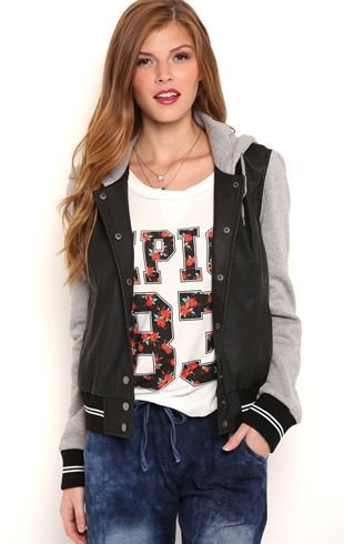 Faux Leather Varsity Jacket with Mixed Knit Hood and Sleeves