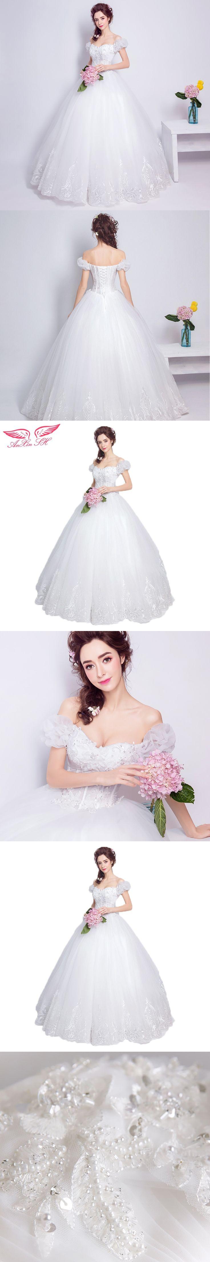 AnXin SH Sweet bubble sleeve wedding dress sexy suction eye right shoulder palace princess wedding dress 5966