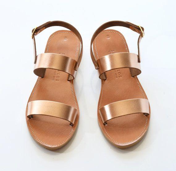 Sandalen Leder Sandalen Frauen Leder-Modelle mit von SAVOPOULOS