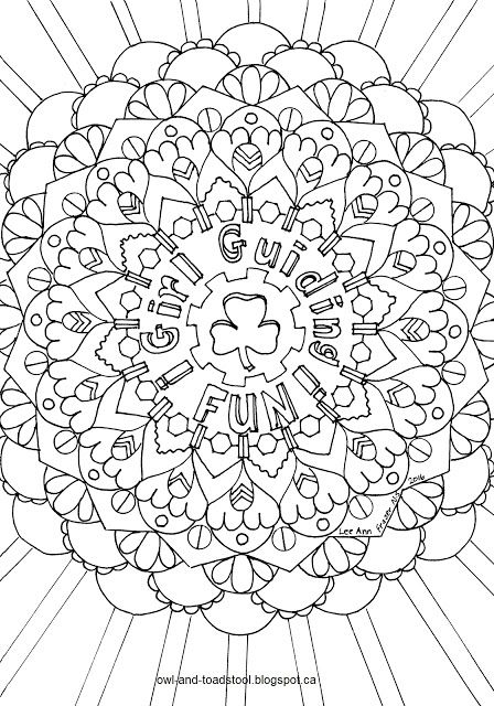 """Girl Guiding Fun Mandala"" doodle by Lee Ann Fraser Owl & Toadstool 2016"