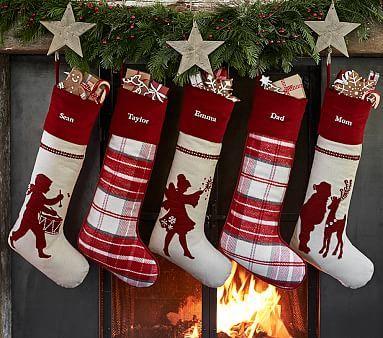Plaid & Crewel Stocking Collection #pbkids
