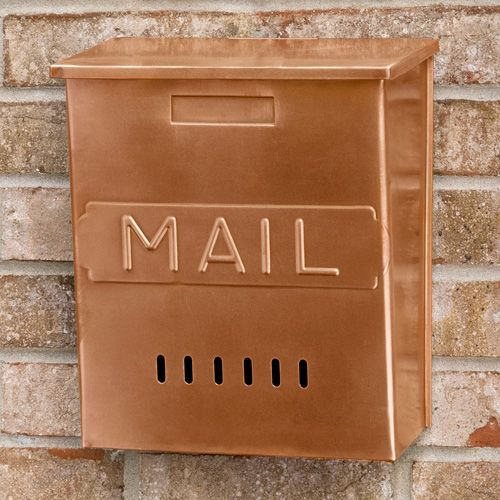 """Vertical """"MAIL"""" Wall Mount Copper Mailbox $89.95. Solid copper construction. Available in Antique Copper. Overall measurements: 10-1/4"""" L x 5-3/8"""" W (front to back) x 11-5/8"""" H (± 1/2""""). 4-3/4"""" center to center mounting holes."""