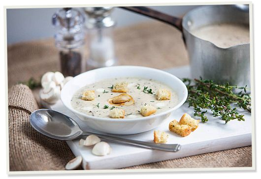 Our classic Mushroom Soup is a warming starter or main, perfect with bread or crutons.