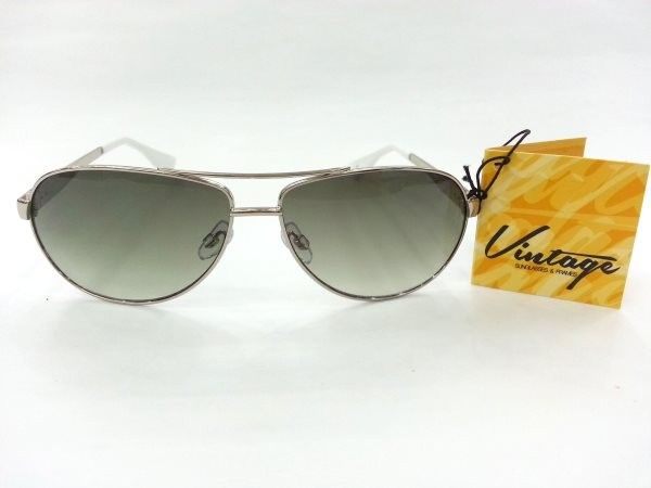 Vintage Aviator Power Silver Metal Sunglasses